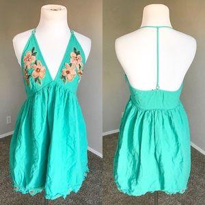 {Free People} Embroidered Mini Dress